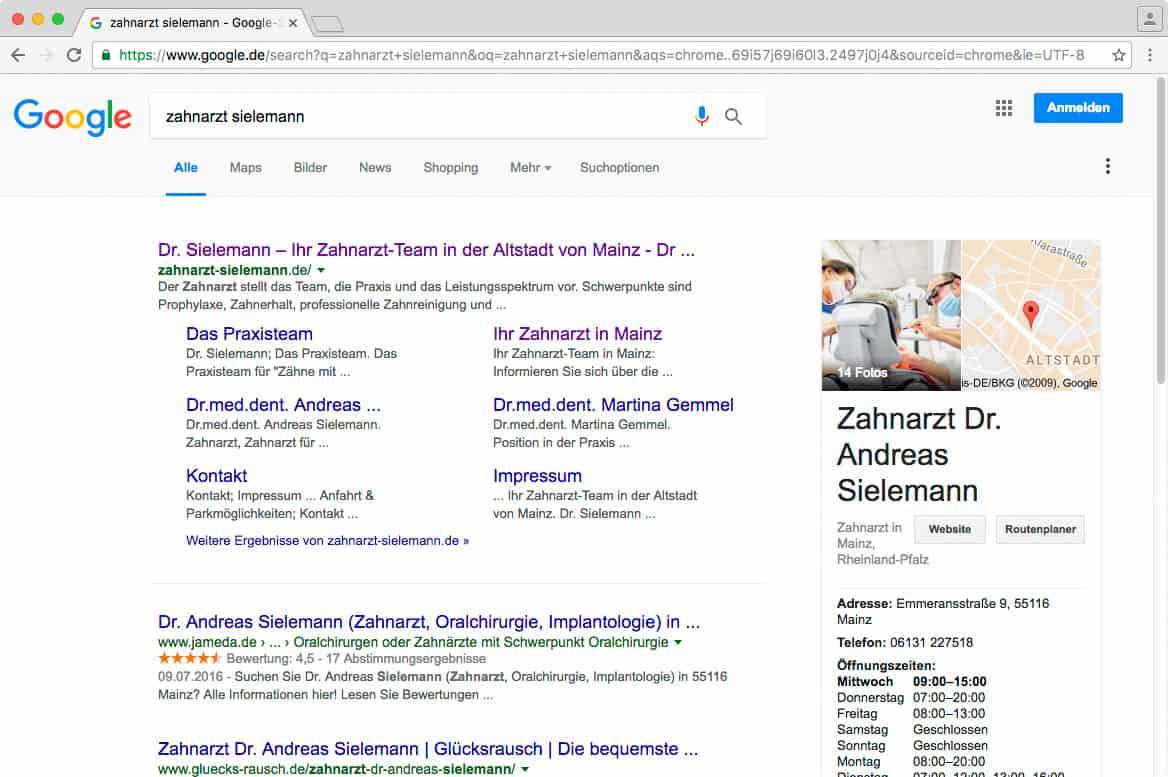 Darstellung in der Google Suche mit gepflegtem Google-Maps-Eintrag